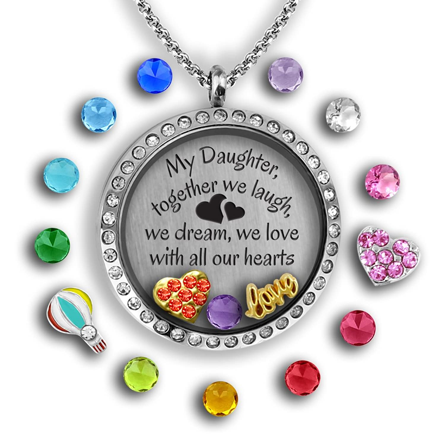 Amazon teacher gifts for women floating locket keychain full mother daughter gifts my daughter necklace father daughter gifts charm necklace for daddys jeuxipadfo Image collections