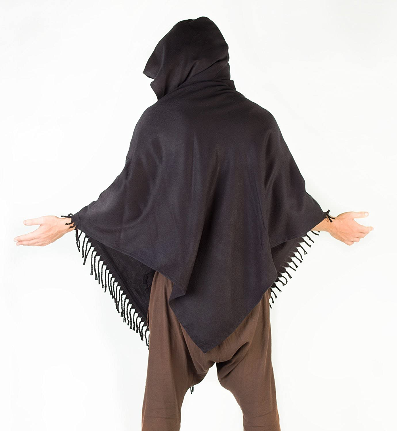 AJJAYA Mens Poncho Simply Black Handmade Cashmere Wool with Large Hood and Pockets Jungle Primitive Gypsy Festival Mexican Tribal Embroidered Celtic Earthy Winter Tibetan Wild /…