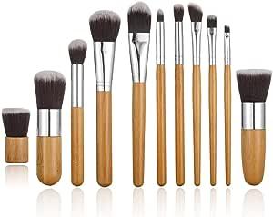 STELLAIRE CHERN 11 Pieces Professional Makeup Brush Set Foundation Blending Blush Concealer Eye Face Liquid Powder Cream Cosmetics Brushes Kit - Bamboo Handle