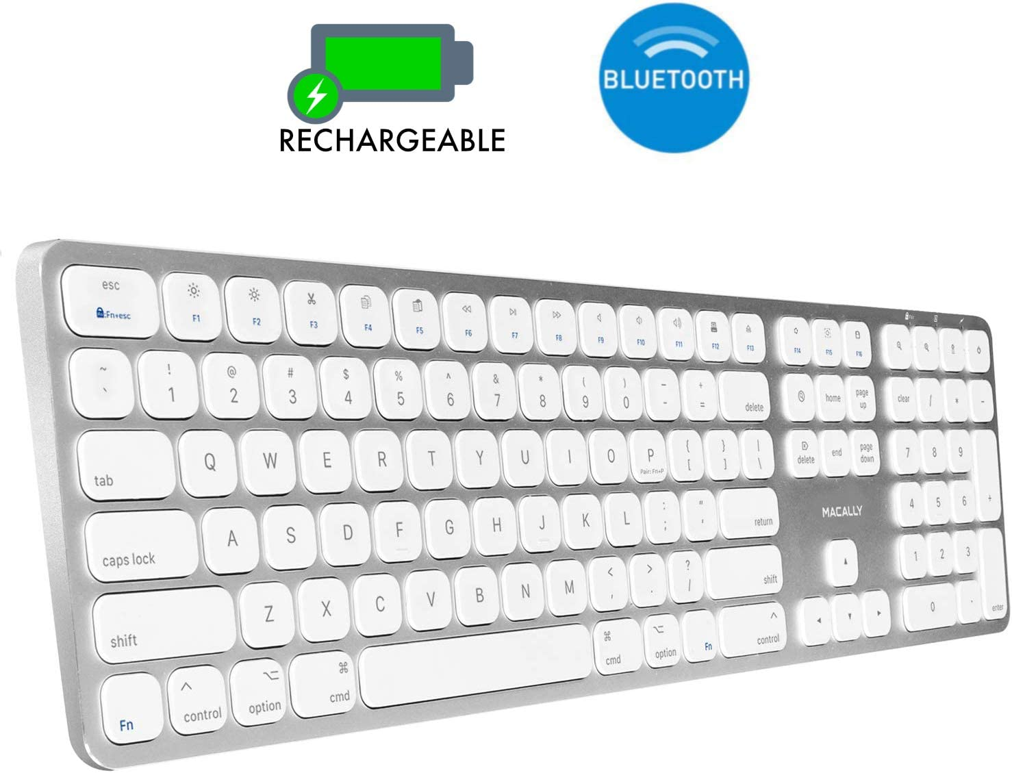Macally Bluetooth Wireless Keyboard for Mac - Compatible with All Apple Computers & Laptops, iMac Mini/Pro, MacBook Pro/Air, iPad, iPhone - Slim Full Size Metal Frame Mac Wireless Keyboard - Silver