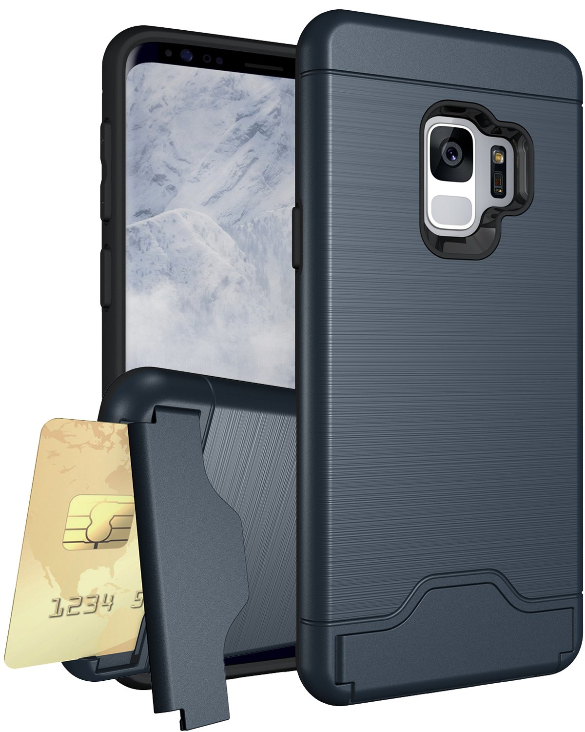 Galaxy S9 Case, XRPow Samsung S9 Credit Card Slots Holder Hybrid Bumper Armor Dual Layer Shockproof Protective Case Cover Navy Blue