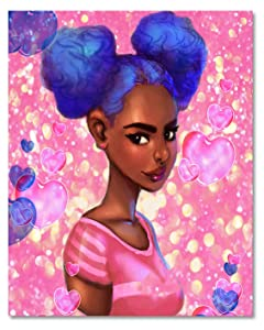 LB African American Woman Canvas Wall Art Black Girl Pink Heart Painting Canvas Prints Modern Living Room Bedroom Bathroom Framed Home Decoration Ready to Hang,16x20 inch