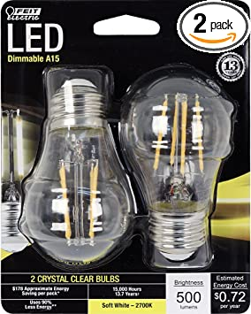 Feit Electric Decorative Clear Glass Filament Led Dimmable 60w Equivalent Soft White 2700k Classic A15 Light Bulb Pack Of 2 Bpa1560 827 Led 2 Amazon Com