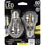 Feit Electric BPA1560/827/LED/2 60W Equivalent Clear A15 Dimmable LED Light Bulb (2 Pack), Soft White