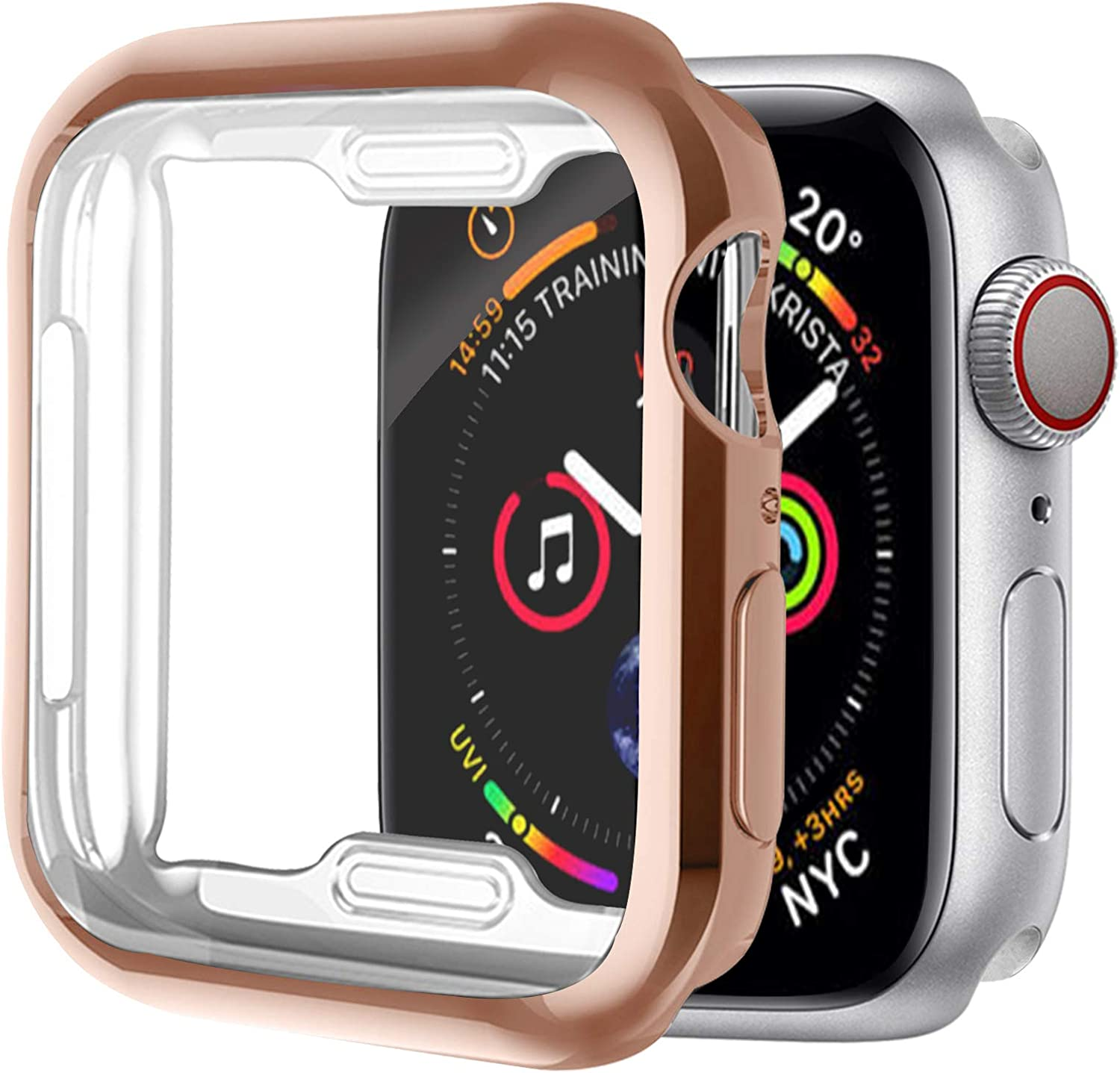 [1 Pack] ALADRS Screen Protector Case for Apple Watch 44mm, Full Protective HD Ultra-Thin Cover Compatible with iWatch Series 4 Series 5 Series 6 SE Bumper Case, Rose Gold