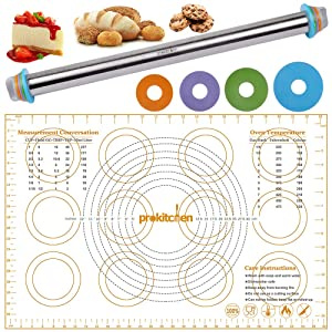 PROKITCHEN Adjustable Rolling Pin Dough Roller with Silicone Baking Pastry Mat, Stainless Steel Rolling Pins with Removable Thickness Rings Guides Spacers
