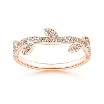 Angara Diamond Vine and Leaf Curved Wedding Band JUuUxV2V4