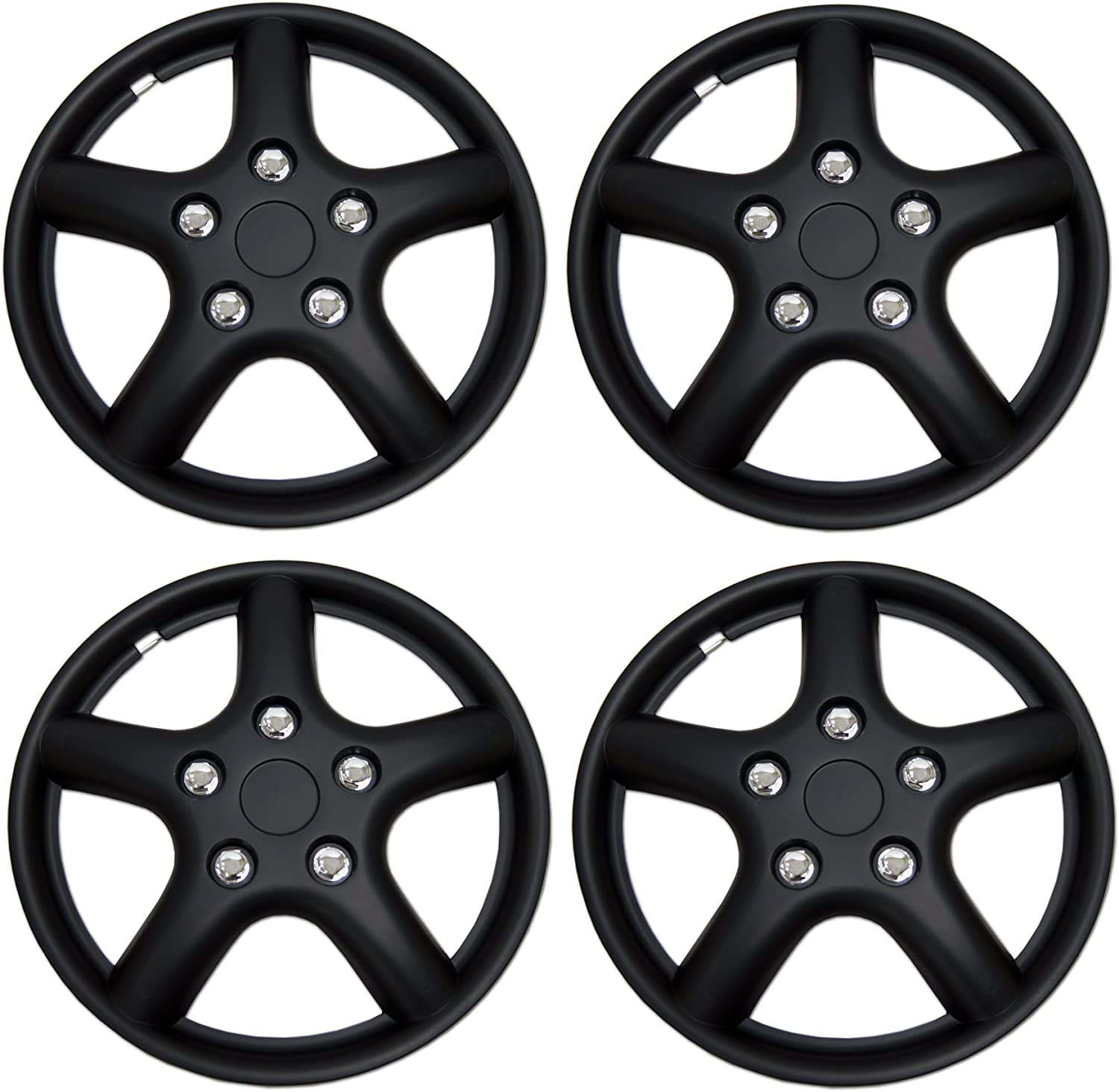 Pop-On 15-Inches Style Snap-On Tuningpros WC3-15-1028L-B Type Matte Black Wheel Covers Hub-caps Pack of 4 Hubcaps