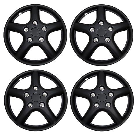 Amazon.com: TuningPros WSC3-028BB15 4pcs Set Snap-On Type (Pop-On) 15-Inches Matte Black Hubcaps Wheel Cover: Automotive