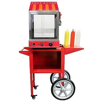 KuKoo - Máquina Eléctrica de Vapor para Perros Calientes de Acero Inoxidable con Carrito para Fiestas, Eventos, Festival, Fast-Food, Takeaway y Café: ...