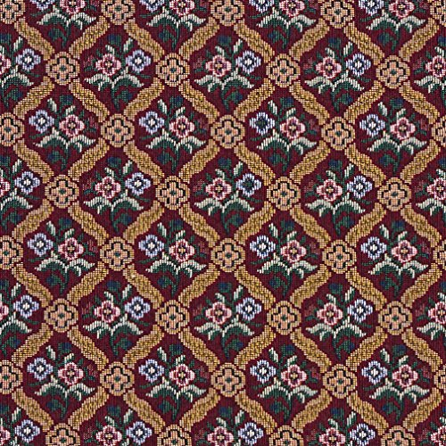 F652 Red Blue And Gold Floral Diamond Tapestry Upholstery Fabric By The Yard from Discounted Designer Fabrics