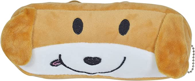 Chords Charming Big Doggo Pencil Pouch Brown with Smooth Zipper and Chain