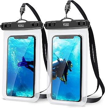 YOSH Funda Impermeable Móvil IPX8 Universal 2 Unidades, Bolsa para Móvil Estanca a Prueba de Agua para iPhone 12 Pro MAX 11 XR X 8 7 Galaxy Note 20 ...