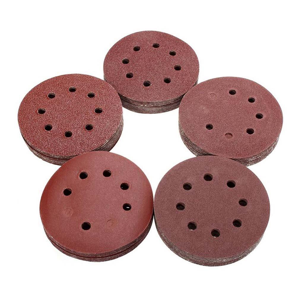 Disc Sandpaper - 100pcs Grit Round Shape Polishing Pad Buffing Sheet 5inch 125mm 8 Hole Sandpaper -m25