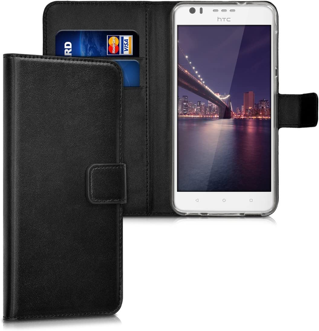 kwmobile Wallet Case for HTC Desire 10 Lifestyle - Protective PU Leather Flip Cover with Magnetic Closure, Card Slots and Kickstand