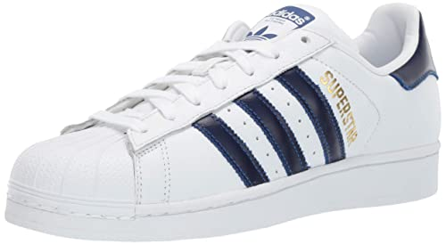 new product b011d f3e09 adidas Mens Superstar Leather White Croyal Gold Trainers 7.5 US