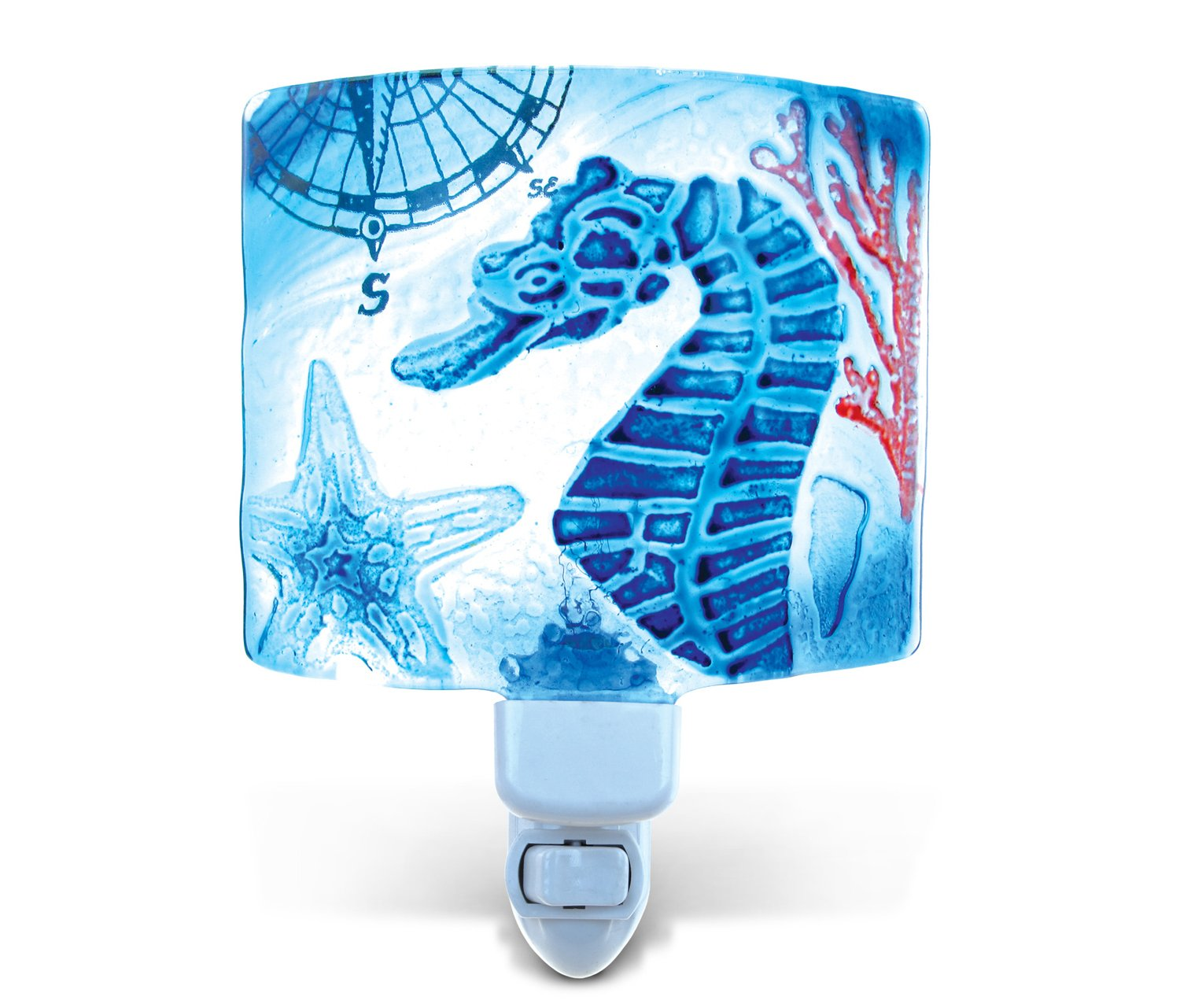 Puzzled Seahorse LED Night Light Hand Painted Glass Art Decorative Home Decor Portable Easy Plug & Switch Novelty Lamp Nautical Animal Ocean Life Theme Unique Design 4.5 x 6 Inches