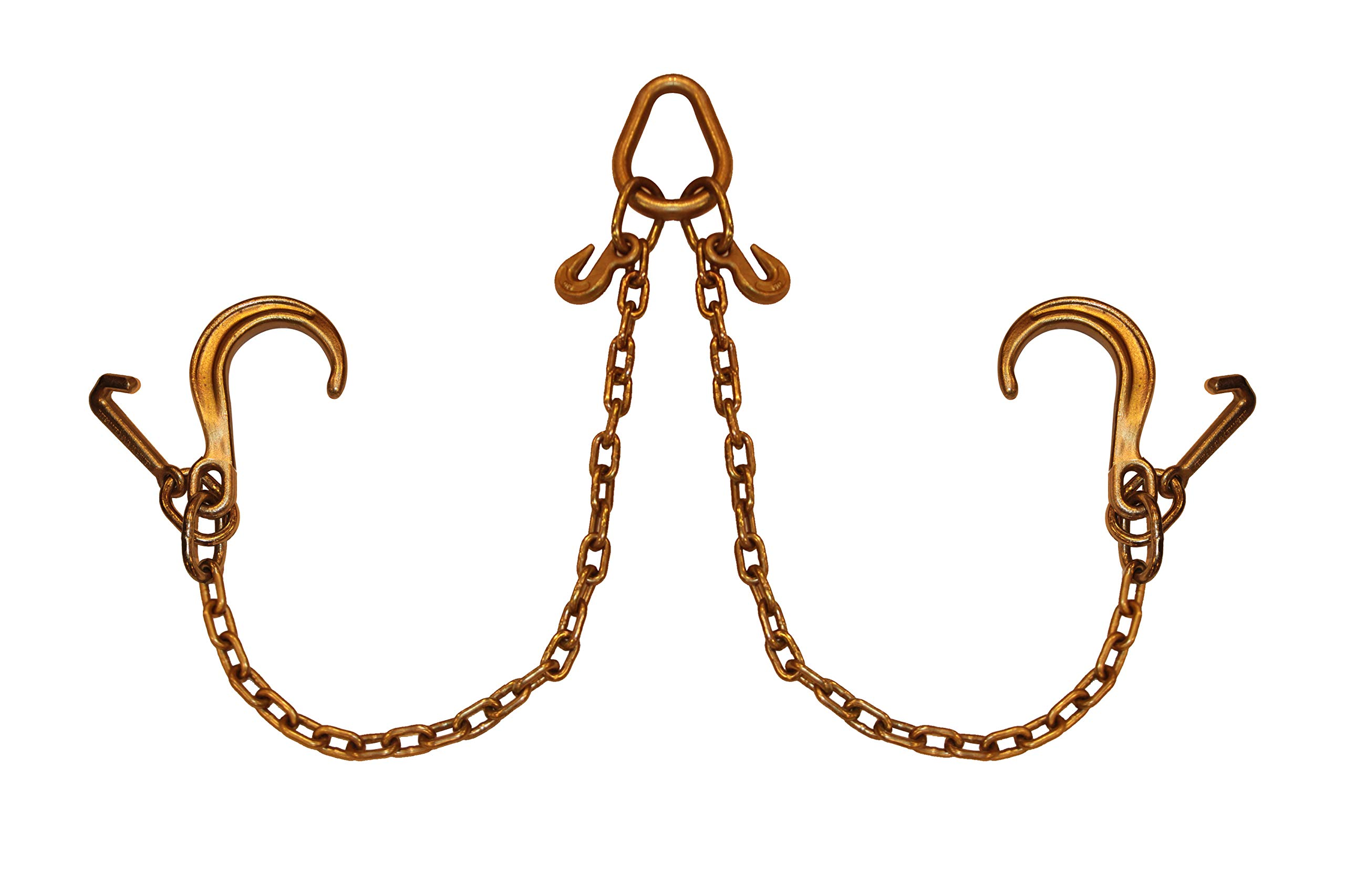 5/16'' Grade 70 V-Chain Bridle x 3 FT Legs 8'' J-Hook with Mini J Towing Cargo Control