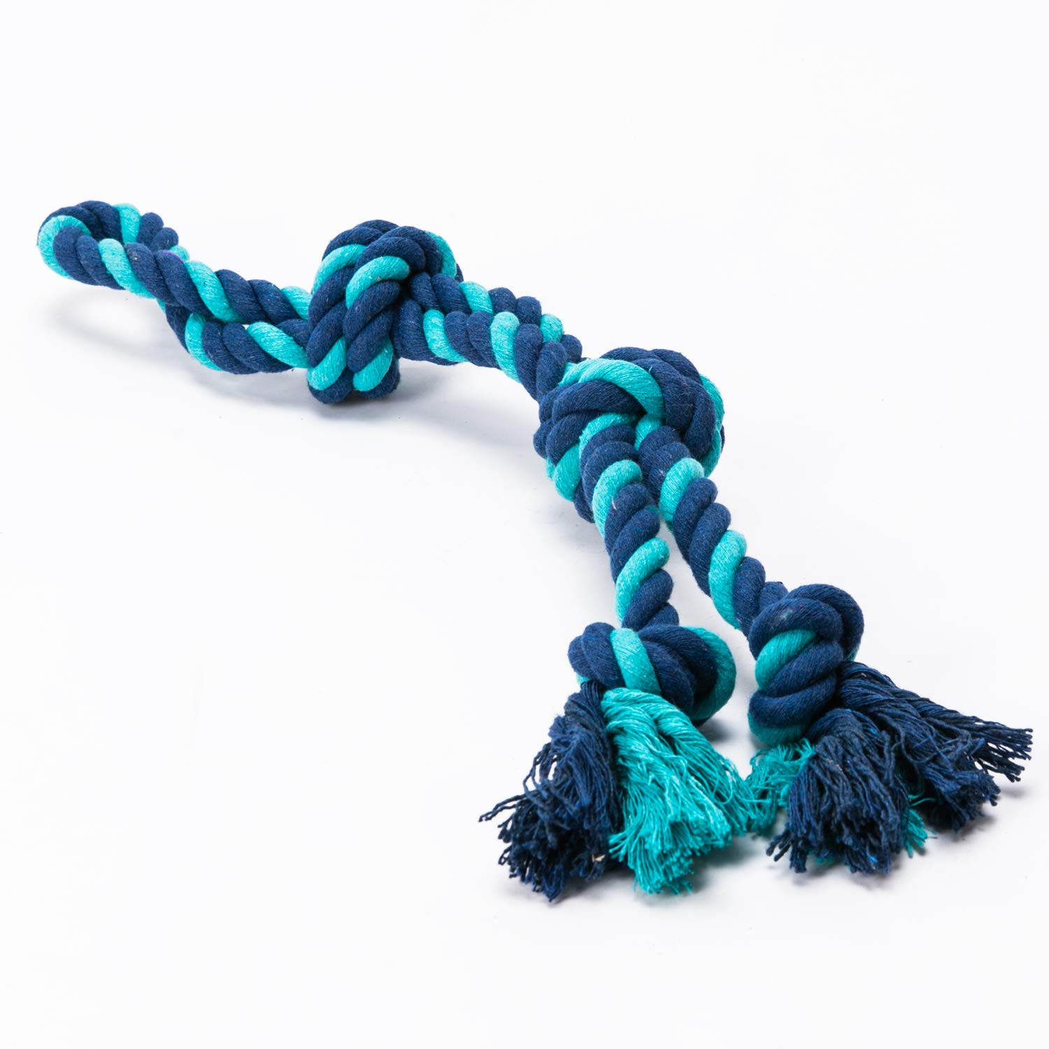 YiPet Rope Toy Dog Tug of War Interactive Play with Your Dog Chew Cotton Dental Teaser Teeth Cleaning for Medium Large Breeds, Blue