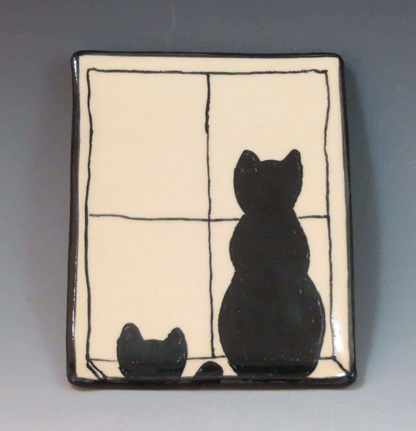 Handmade Ceramic Soap Dish with Black Cats in Window