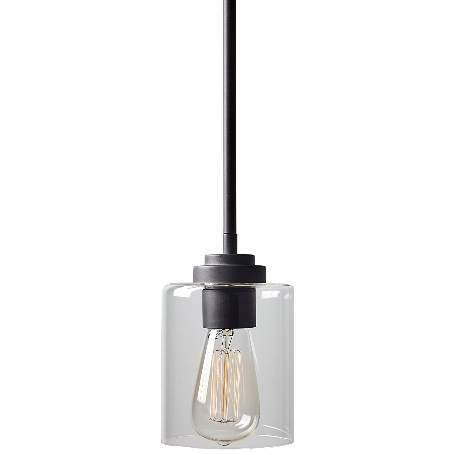 Stone beam modern farmhouse glass cylinder pendant light fixture with light bulb 4 75 inch shade 10 58 inch cord oil rubbed bronze