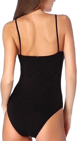 WOMENS BLACK THIN STRAP BODYSUIT BODY SHAPERS LEOTARD 6-28