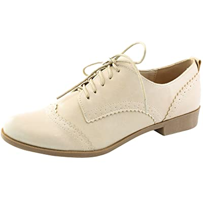Nature Breeze Women's Campus-01 Five-Eyelets up Wing Tip Perforation Oxfords Fashion Dress Shoes | Oxfords