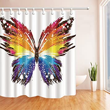 Amazon GoHeBe 3D Colorful Butterfly Shower Curtain 71X71 Inches