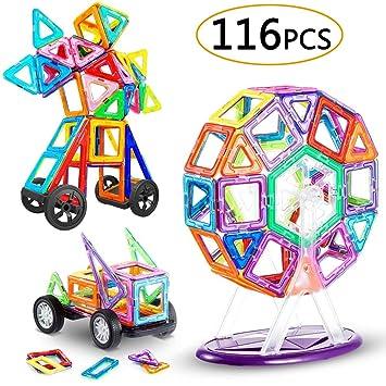 LIVEHITOP 116 Piezas Bloques de Construcción Magnéticos – 3D Juego Imanes Juguete Educativo Creativo Cumpleaños Regalo Reyes Magos para Niños y Niñas ...