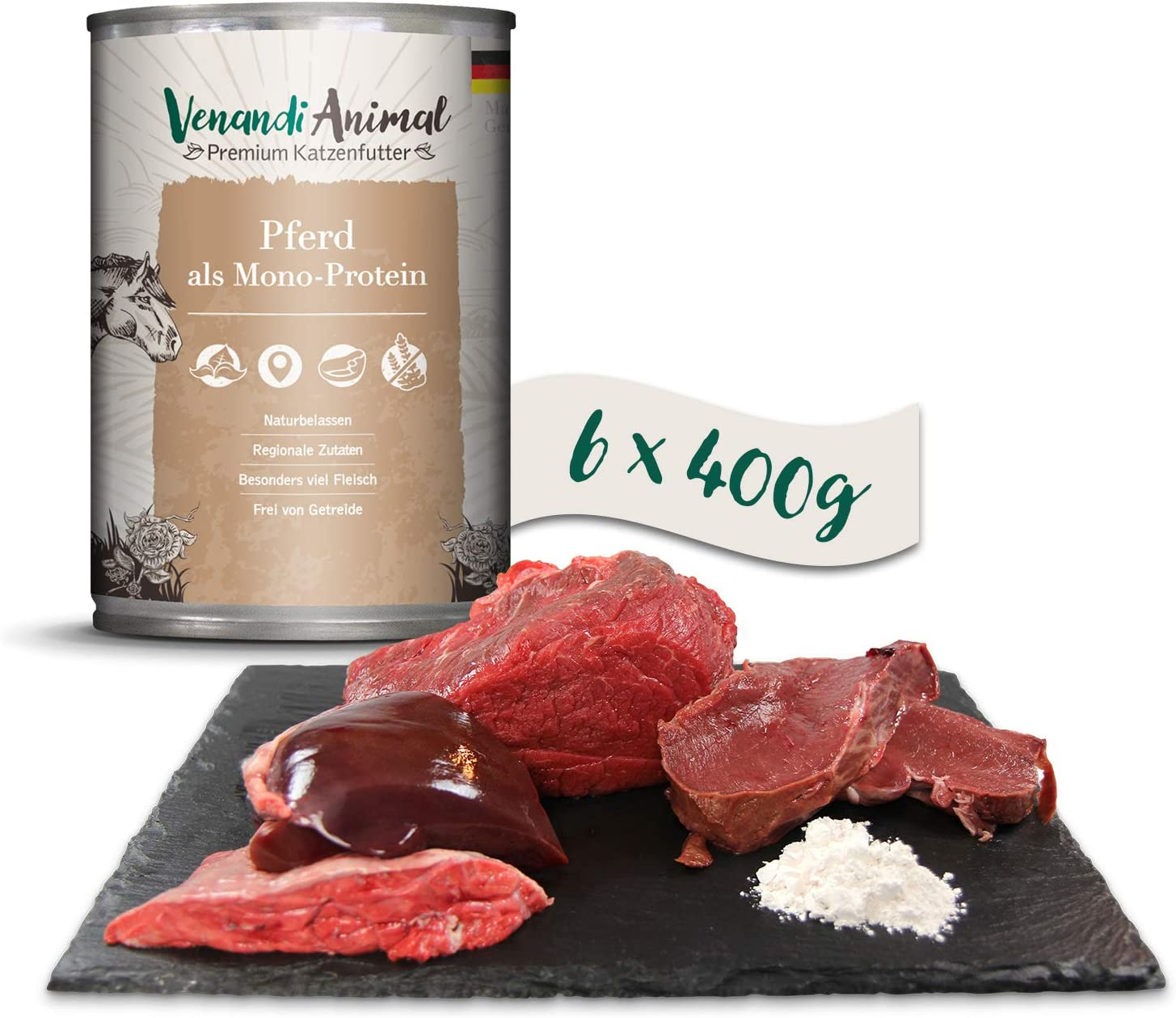 Venandi Animal - Pienso Premium para Gatos - Caballo como monoproteína - Completamente Libre de Cereales - 6 x 400 g