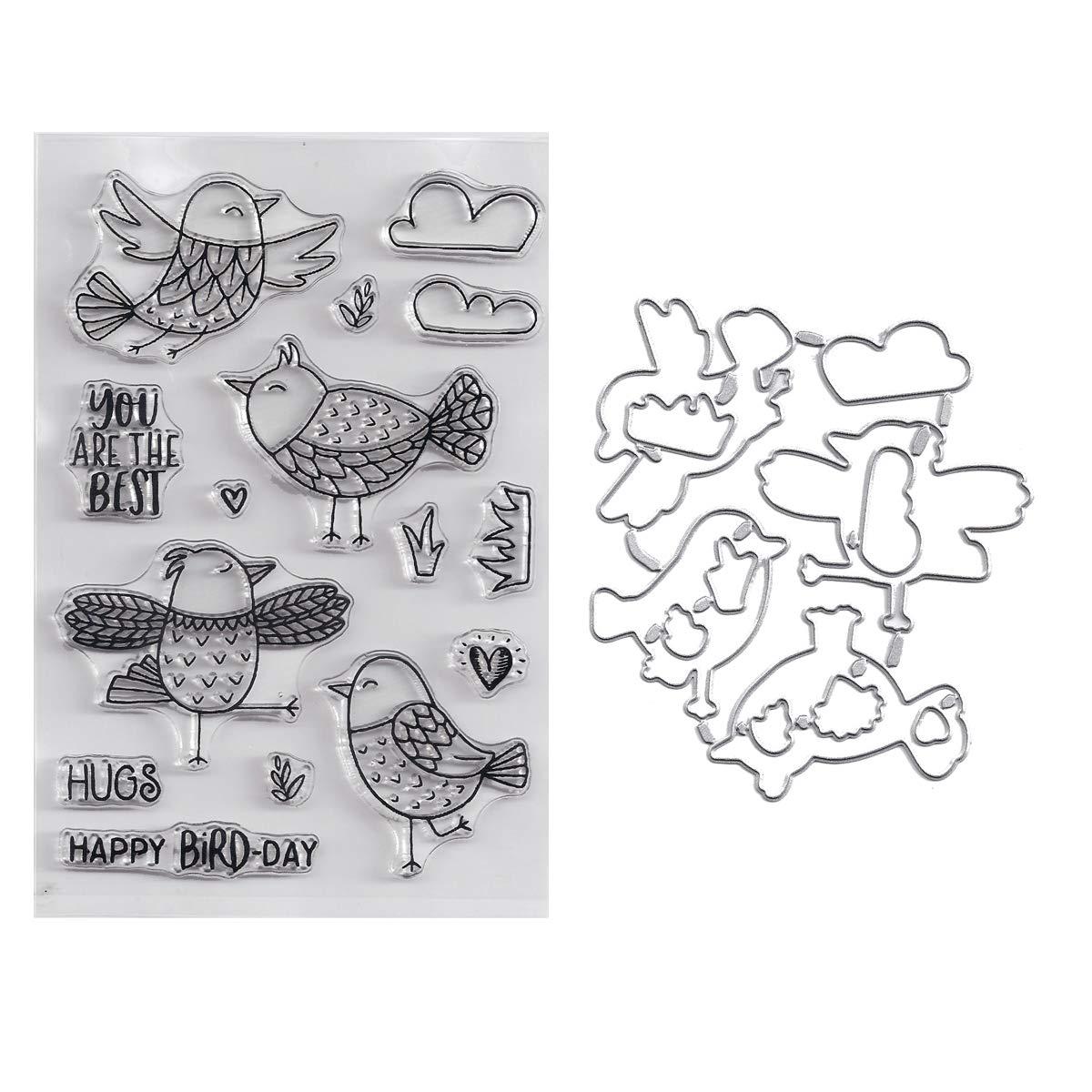 Bundle-2 Items-(1) Ea - Scrapbooking Birds Clear Cling Stamp & Die Cut Set - BD2372, BD2374 Generic