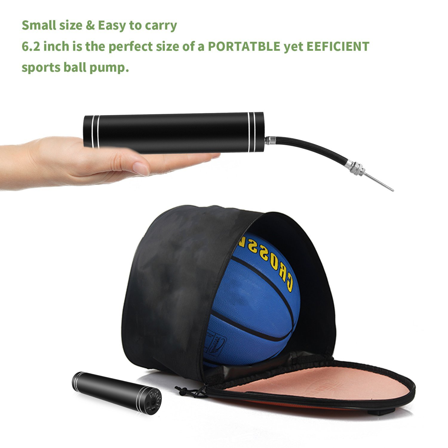 morpilot Portable Electric Air Pump Mini Pump Inflatable Pump with Needles, Suitable for Soccer, Basketball and Football, Volleyball and Swim ring