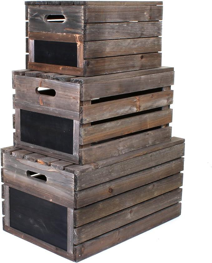 Caja rústica de madera de estilo vintage Marko, con listones, madera, marrón, Large: Amazon.es: Hogar