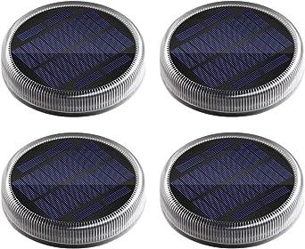 Luces Solares Exterior, Lámpara Solar Jardin 24 LED 360°Iluminación IP68 Impermeable Auto ON/OFF