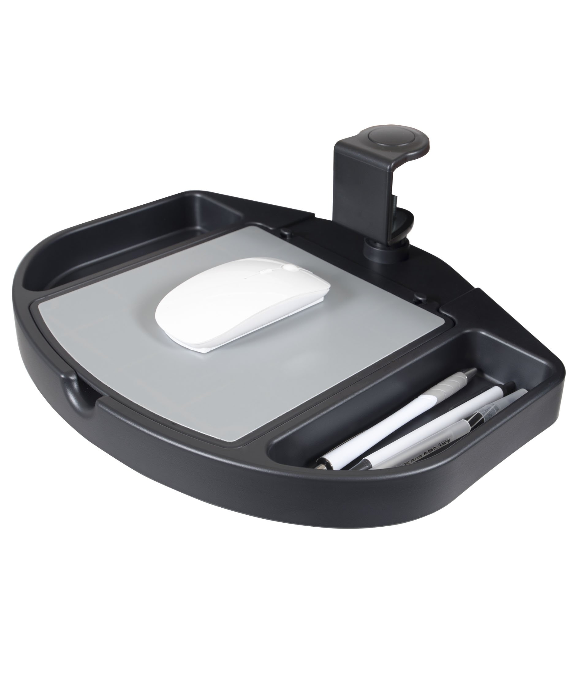 Clamp On 360 Degrees Swivel Out Mouse Tray with Storage