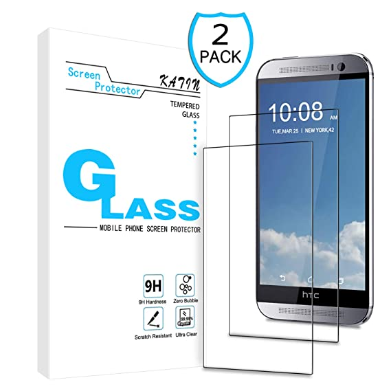 KATIN HTC One M9 Screen Protector - [2-Pack] 9H Hardness Tempered Glass for  HTC One M9 Bubble Free with Lifetime Replacement Warranty