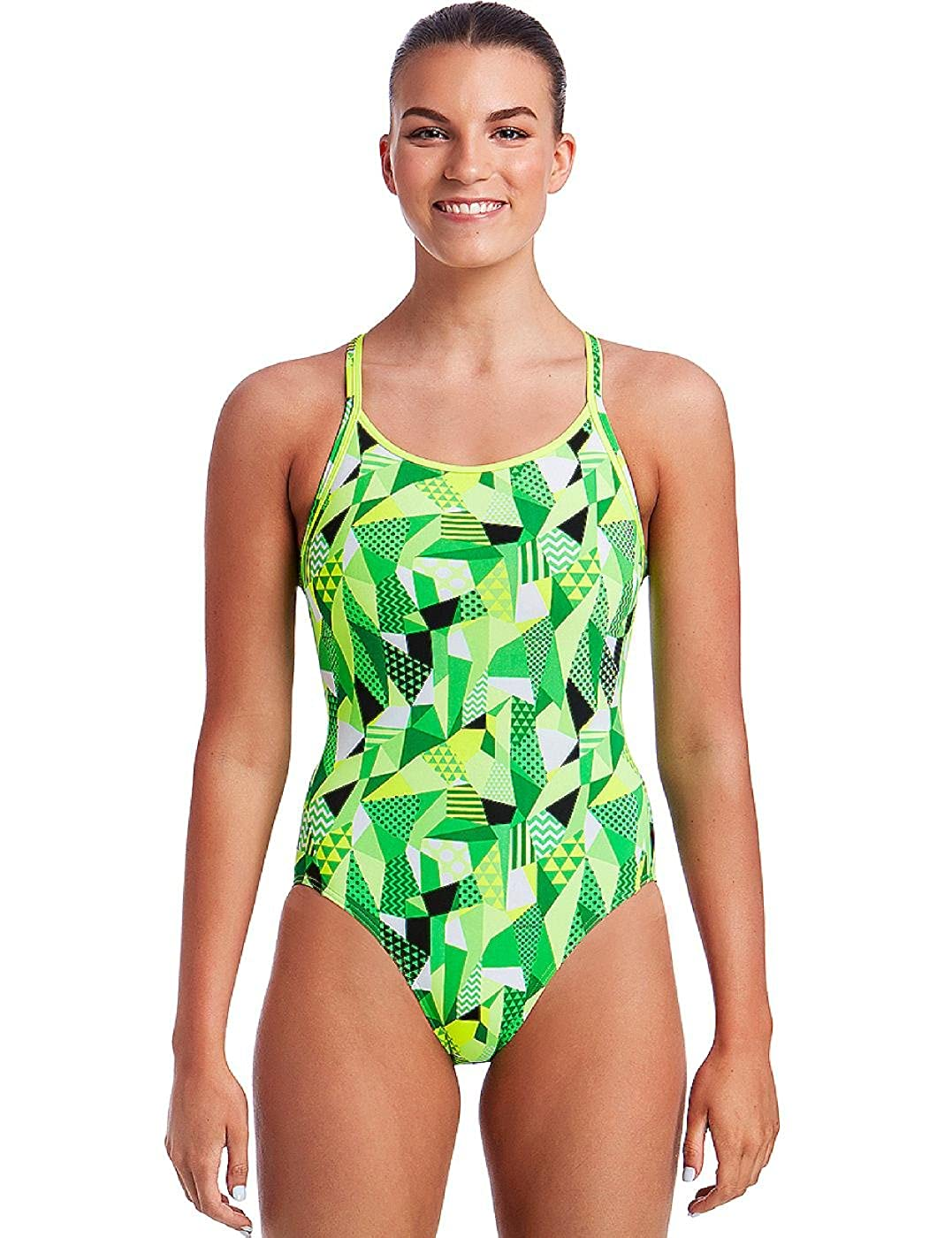 6caffa89ddd85 Funkita Womens Diamond Back One Piece Swimsuit - Green - 8 at Amazon  Women s Clothing store