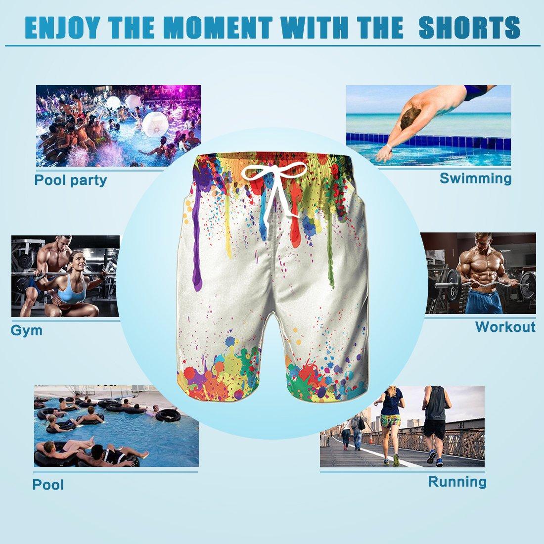 TUONROAD Pantaloncini da Spiaggia Mare, Uomo Pantaloncini e Calzoncini da Bagno,3D stampa spiaggia pantaloni