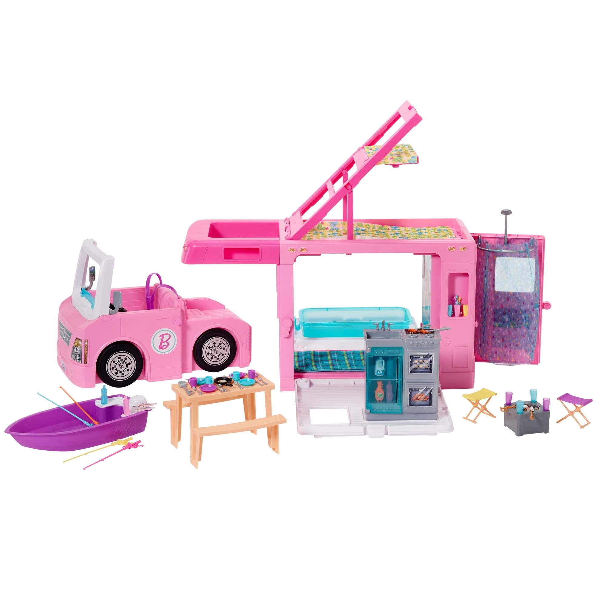Barbie 3-in-1 DreamCamper Vehicle, approx. 3-ft, Transforming Camper with Pool, Truck, Boat and 50 Accessories, Makes a Great Gift for 3 to 7 Year Olds  Super Joy Convertible Car for Dolls , Glittering Magenta Convertible Doll Vehicle with working Seat Belts  Chelsea Travel Doll, Blonde, with Puppy, Carrier & Accessories, for 3 to 7 Year Olds  Barbie Pink Passport 2 Pack Camping Adventure Dolls Gift Set, Brown  Barbie Dreamplane Transforming Playset with Reclining Seats and Working Overhead Compartments, Plus 15+ Pieces Including a Puppy and a Snack Cart, for Kids 3 Years Old and Up