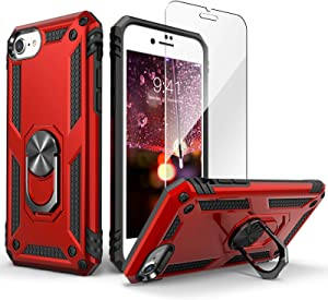 IDweel iPhone SE 2020 Case with Tempered Glass Screen Protector, iPhone 8 Case, iPhone 7 Case, Military Grade Protective Case with Ring Car Mount Kickstand for Apple iPhone SE 2020 iPhone 7/8, Red