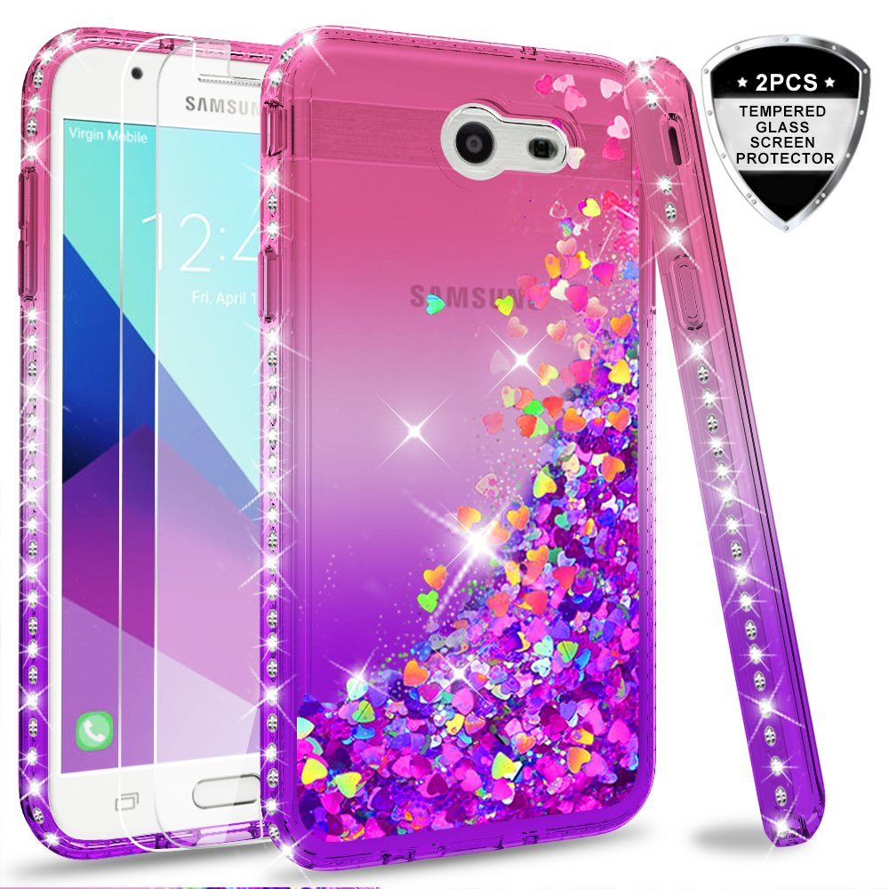 Galaxy J7 V/J7 Prime/J7 Perx/J7 Sky Pro/Halo Glitter Case with Tempered Glass Screen Protector [2 Pack] for Girls Women, LeYi Liquid Quicksand Case for Samsung Galaxy J7 2017 ZX Gradient Teal/Purple