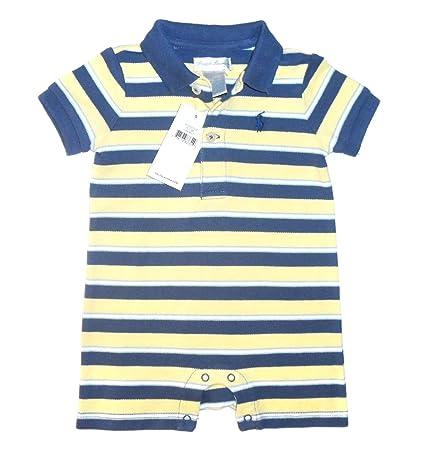 New Genuine Ralph Lauren bebé niños SHORTALL de rayas Babygrow Pelele – Azul maíz azul azul