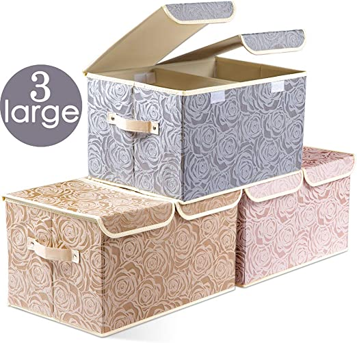 Prandom Large Foldable Storage Bins with Lids Fabric Decorative Storage Box  Cubes Organizer Containers Baskets with Cover Handles Removable Divider