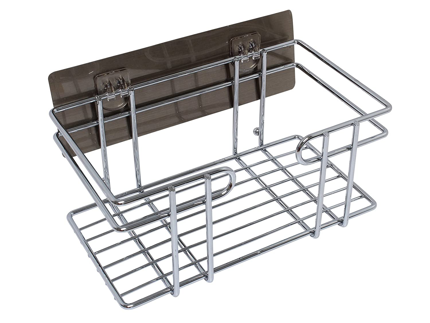 "Wall Mount Storage Basket - Stainless Steel Industrial Storage Organizer Rack - Adhesive Sticker - Laundry Kitchen Bathroom (9.25"" x 5.25"" x 4"") Royal Brands"
