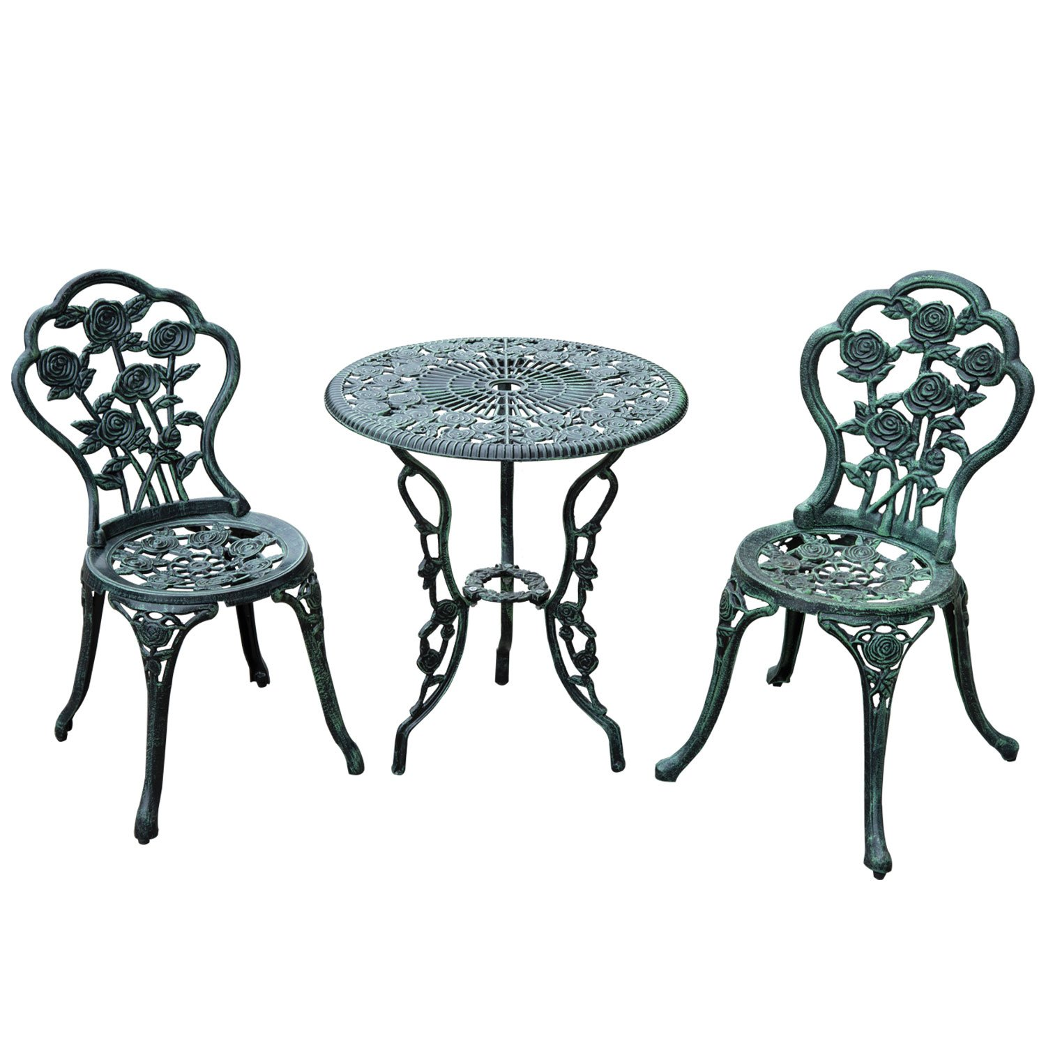 Amazoncom Outsunny Piece Outdoor Cast Iron Patio Furniture - Bistro table set