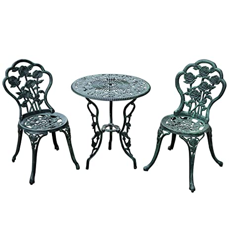 outsunny 3 piece outdoor cast iron patio furniture antique style bistro dining chair and table