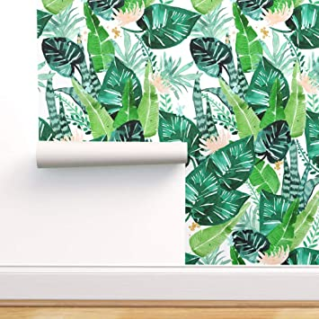 Spoonflower Peel And Stick Removable Wallpaper Tropical Leaves Watercolor Green Hawaii Banana Leaf Jungle Plant Print Self Adhesive Wallpaper 24in X 108in Roll Amazon Com