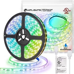 HitLights Waterproof RGB LED Strip Lights 150LED IP67 5050 16.4FT UL-Listed Light Strips 12V LED Lights for Room Under Kitchen Bedroom Home Decoration