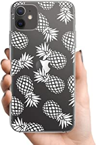 """Inber iPhone 11 Case with Glass Screen Protector,Clear TPU Cover with Fashionable Pineapples Floral Designs for Girls Women,Shockproof Slim-fit Protective Phone Case for Apple iPhone 11 6.1"""""""