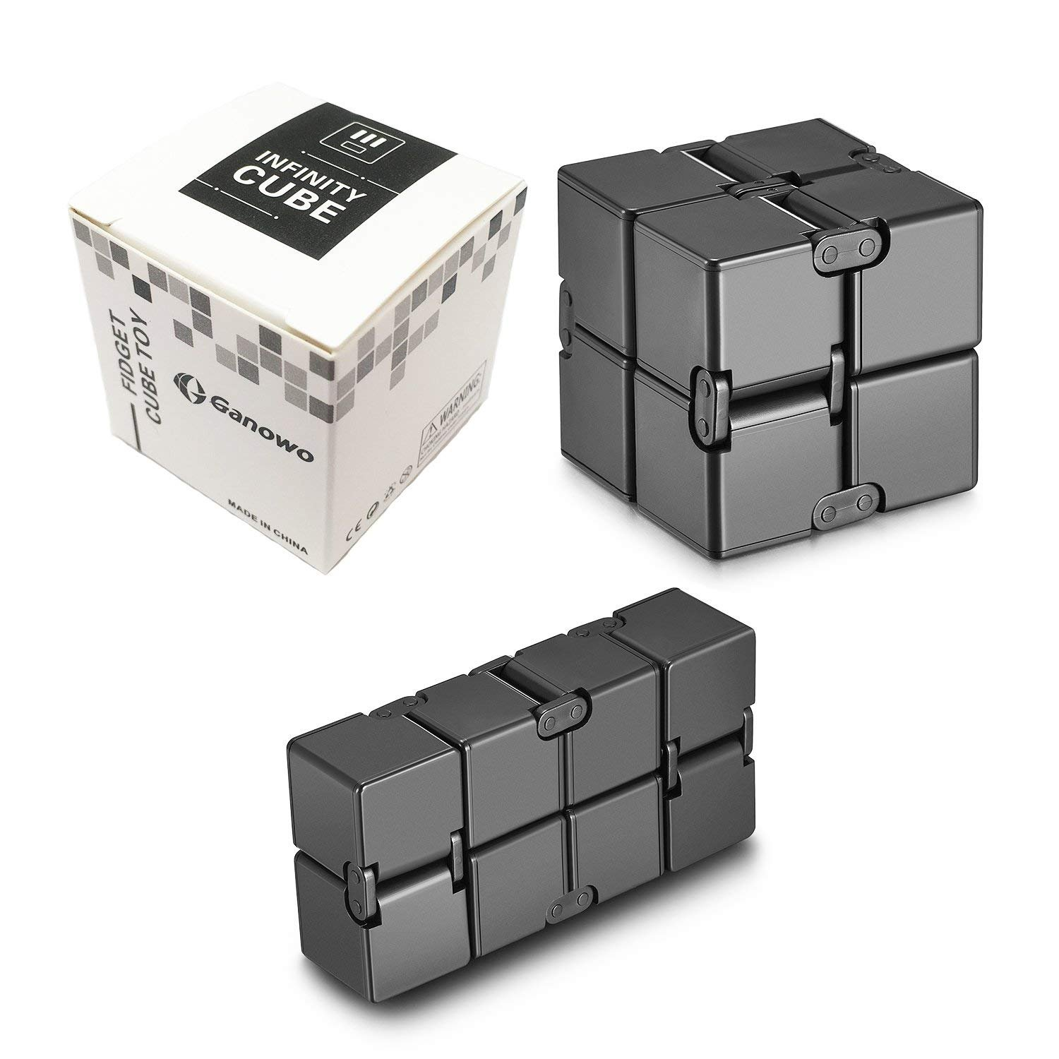Infinity Cube Fidget Cube Toy for Adults & Kids Relieve Stress & Anxiety Hand Fidget Stress Reducer Best for ADD,ADHD,OCD,Anxiety Disorder,Autism by Ganowo (Black)